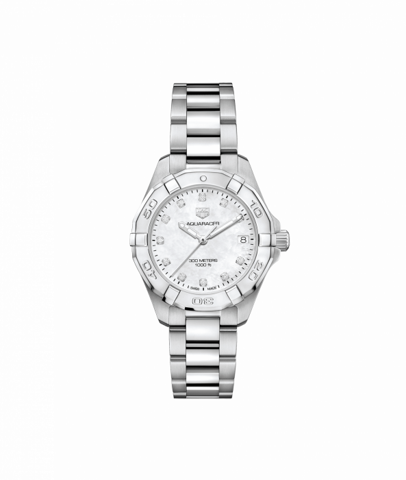 Tag Heuer Aquaracer 32mm Vit pärlemo med diamanter WBD1314.BA0740